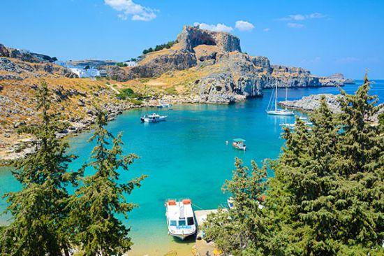 Tuinposter Lindos Rhodos Griekenland